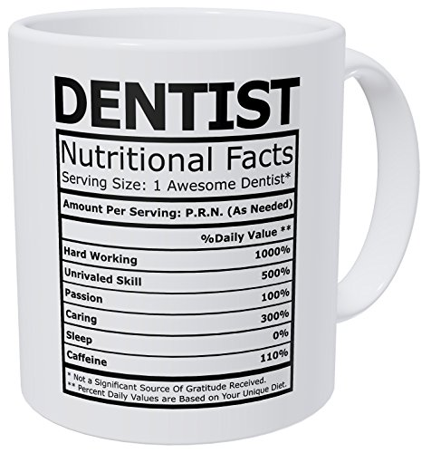 Wampumtuk Dentist Nutritional Facts Funny Coffee Mug 11 Ounces Inspirational And Motivational