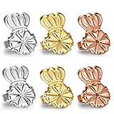 Original Magic Earring Backs for Earrings | Ear Support Earing Lifters | Lifts Heavy Back Lobe Backing BAX | Secure Earlobe Bullet Lifter (Silver/Gold/Rosegold)