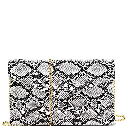 Snake Print Leather Envelope Clutch Purse with Crossbody Chain Strap (Envelope Style - Black)