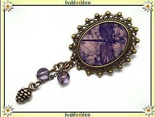 Spilla retrò resina libellula viola malva lilla ottone bronzo 18 x 25 mm perline vetro regalo personalizzato noel amico co...