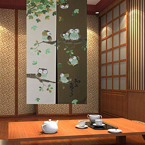 Japanese Noren Doorway Curtain Tapestry with Owls Coffee Brown