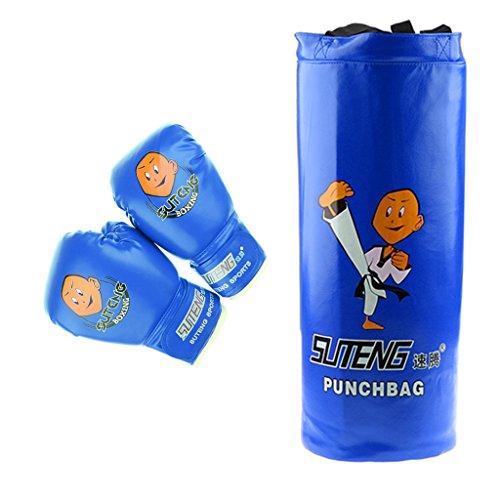 MagiDeal Boxsack Set Gefüllt Kickboxen MMA Kampfsport Handschuhe Gepolstert - ideal für Jungen und Mädchen (Alter 3-12) - Blau