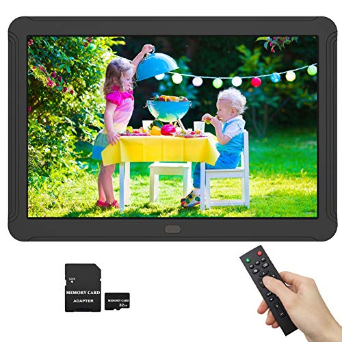 1920x1080 Digital Picture Frame 8 Inch 16:9 IPS Screen, Photo Auto-Rotate, Auto Turn On/Off, HD Video Frame, Calendar, Alarm Clock, Background Music, Remote Control, Include 32GB SD Card Materials Presentation Storage