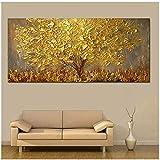 Wandkunst Gold Baum Ölgemälde Auf Leinwand Gemälde für Wohnzimmer Moderne Abstrakte Bilder 70x140 cm Gerahmte Gold Baum