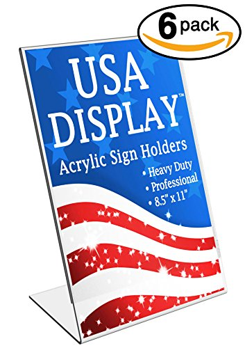 """Acrylic Sign Holder 8.5 x 11"""" Inch - Heavy Duty, Brochure Ad Frame Plexi Stand - Marketing Display for Business, Home Office, School - Slant Back Clear Durable Plastic(Pack of 6)"""