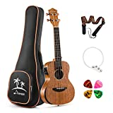 Donner Acoustic Electric Ukulele Concert Size Built-in Tuner Solid Top Mahogany Body 23 inch Ukelele Beginner Kit With EQ Gig Bag Strap String 4 Picks DUC-4E