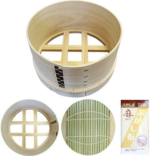 吉野天然ヒノキ使用 国産和せいろ 蓋無し 深型5寸 九寸 27cm 2升用 井桁底セイロ