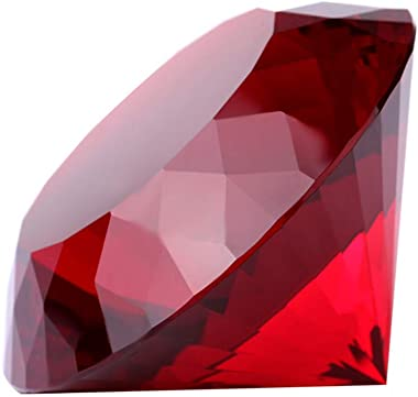 Red Crystal Glass Diamond Shaped Decoration, Big Ruby 80mm Jewel Paperweight,Red Crystal Glass Diamond Shaped Decoration, Big