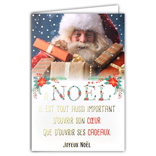 Kaart Happy Kerstmis tekst openen zijn hart zijn geschenken Kerstman kleine papa Kerstmis rode muts baard pakketten bloemen Poinsettia goud verguld