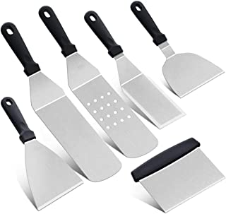 YINGZU Espátula Profesional de Acero Inoxidable Conjunto de raspador de Barbacoa al Aire Libre Teppanyaki Cuisine Pala Kit de Herramienta de fijación de Olla Seca