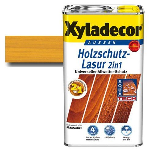 Xyladecor® Holzschutz-Lasur 2 in 1 Eiche hell 2,5 l - Keine Grundierung mehr notwendig | schützt & imprägniert