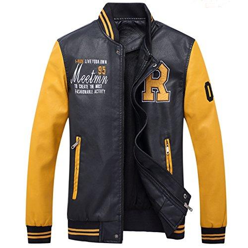 LEOCLOTHO Herren Baseballjacke Casual Collegejacke Leichte Gedruckt PU-Leder Jacke mit Stehkragen Gelb XL