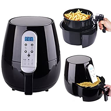 Air Fryer Hot Air Fryer Smart Technology with Temperature and Time Control LED Display 4.3 L/4.5 QT 1500W For Fast & Healthier Oil Free Cooking