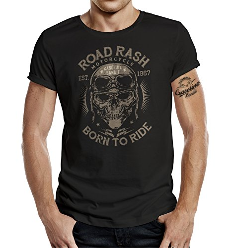 Gasoline Bandit T-shirt style biker avec inscription « Road Rash – Born to Ride » - Noir,M