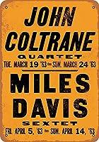 [ZUNYI]おしゃれ 雑貨 ブリキ看板 John Coltrane & Miles Davis in LA レトロスタイル 壁の装飾、家、パブ、ビール、ガレージ、庭、コーヒー[20x30cm]