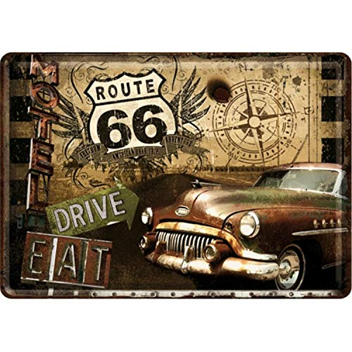 US ROUTE 66 Plaque Metal Voiture Gold - 10x14 cm - Frais Offert