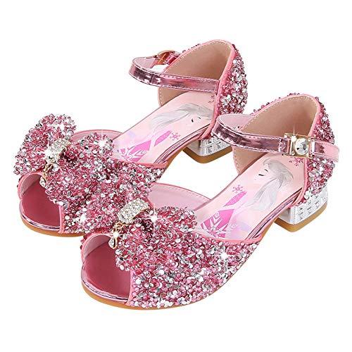 YOSICIL Niñas Disfraz Princesa Elsa Zapatos de Bailarina con Arco Zapato de Tacón Alto Zapatos para Vestir Fiesta Halloween Cumpleaños Sandalias de Verano EU24-36
