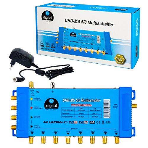 HB-DIGITAL Multischalter pmse 5/8 1x SAT bis 8 x Teilnehmer / Receiver für Full HDTV 3D 4K UHD mit Netzteil