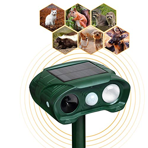 YARDPRO Solar Powered Animal Repeller Cat Deterrent - Ultrasonic Dog Repeller - Outdoor Waterproof PIR Sensor Repellent Perfect Animal Control for Cats, Dogs, Squirrel, Raccoon, Deer and More