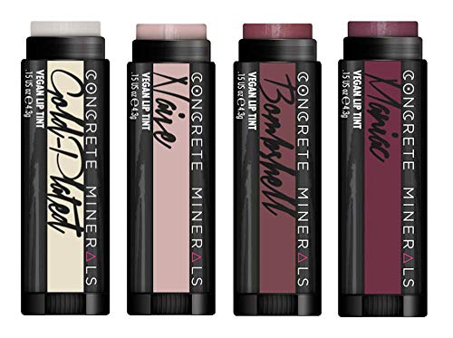 Concrete Minerals Lip Tints, Nourishing Formula With High Color Payout, Longwear With Smooth Application, Cooling Sensation Of Peppermint, 100% Vegan and Cruelty Free, Handmade in USA, 0.6 Ounce Total (Bridesmaid)