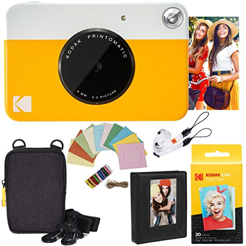 KODAK: Paquete cámara instantánea Printomatic (Amarilla) + Papel Zink (20 Hojas) + Funda álbum de Fotos + Marcos para Colgar + cómoda Correa para el Cuello.