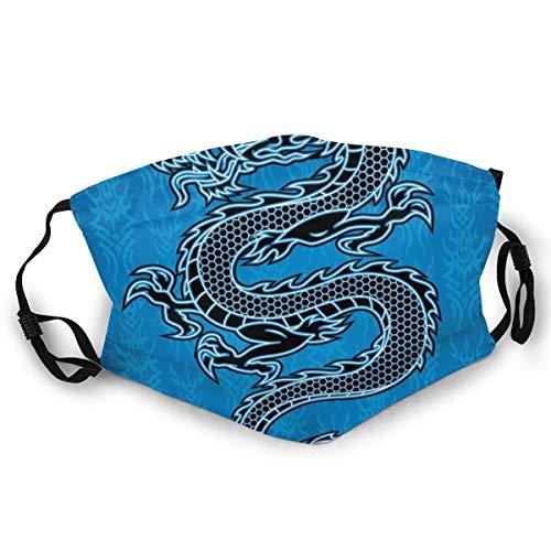 MundschutzWiederverwendbarerMundschutz im Freien,Black Dragon On Blue Tribal Background Year of The Dragon Themed Art,NahtloseRänderAußenabdeckungen