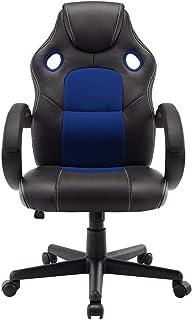 STmeng Sillas de Oficina, Computadora Ergonómico Silla de Oficina con Brazos, Ajustable Giratorio Oficina Esencial Silla (Azul)