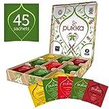 Pukka Active Selection Box, Scatola di Tisane e Tè Biologiche Energizzanti Assortite, Idea Regalo per il Benessere, 45 Bustine