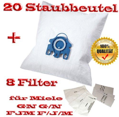 20 fürMiele Staubbeutel Typ GN G/N FJM F/J/M + 8 Filter - Inhalt je Faltschachtel: 4 x 5 Staubbeutel + 4 x 1 Super Air Clean-Filter + 4 x 1 Motorschutzfilter - Staubbeutel GN FJM HyClean (Farbe: blau) Geeignet für: S 4xx, S 6xx, S 8xx, S 2xxx, S 5xxx , S 6xxx Staubbeutel Auch geeignet für:ALLERGY CONTROL , ALLERVAC SENSOR, AUTOMATIC TT 5000, BABY CARE, BIG CAT & DOG, BLUE MOON, BRILLANT 6600, CAT & DOG, TURBO