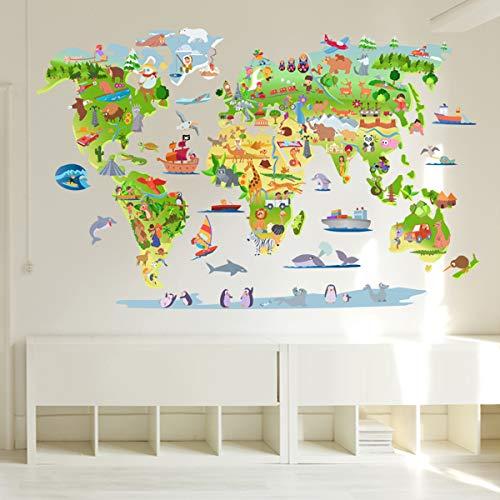 StarStick - Mapa mundi de dibujos 145x80 cm- Vinilos decorativos de pared...