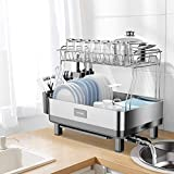 ADOVEL Dish Drying Rack and Drainboard Set, 2 Tier Dish Drainer with Swivel...
