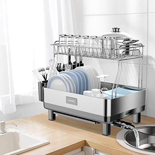 ADOVEL Dish Drying Rack and Drainboard Set, 2 Tier Dish Drainer with Swivel Spout for Kitchen Counter, 304 Stainless Steel