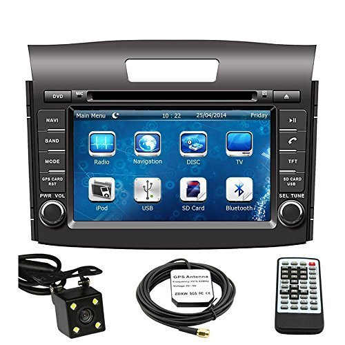 Car GPS Navigation System for Honda CRV 2012 2013 2014 Double Din Car Stereo DVD Player 8 Inch LCD Touchscreen TFT Monitor In-dash DVD Video Receiver with Built-In Bluetooth TV Radio, Support Factory Steering Wheel Control, RDS SD/USB input iPod AV BT AUX IN+ Free Rear View Camera + Free GPS Map of USA