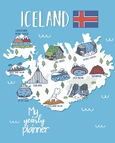 My Yearly Planner: Daily, Weekly, Monthly Undated Planner & Notebook - Appointment Journal Notebook and Action day - iceland map art design (123 Creative Planners, Band 270)