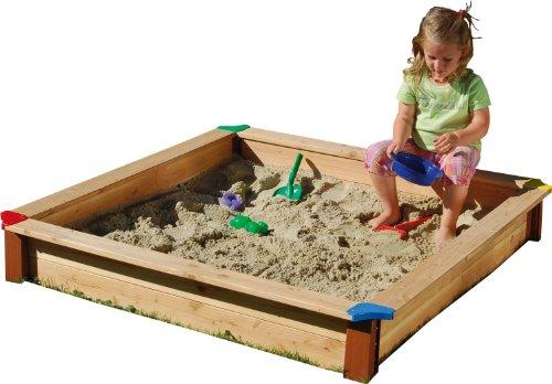GASPO Sandkasten Classic Sandbox aus Holz einfaches Bausatzsystem, Natur, 115x115x20 cm