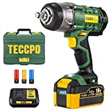 Cordless impact wrench, TECCPO 350Nm Impact Wrench, 4.0Ah Battery, 1H fast charge, 3 Impact Sockets for Alloy Rims-17, 19, 21mm, 13mm, Wheel Bolts, Compact Box - TDIW01P