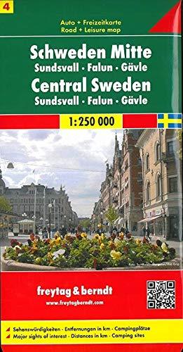 Schweden Mitte - Sundsvall - Falun - Gävle, Autokarte 1:250.000: Sehenswürdigkeiten. Entfernungen in km. Campingplätze (freytag & berndt Auto + Freizeitkarten)
