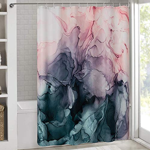 RoomTalks Blush and Payne's Grey Flowing Abstract Painting Shower Curtain, Unique Ombre Pink Marble Fabric Shower Curtain Set Modern Art Shower Panel Bathroom Decor (72''W x 78''L, Abstract Ombre)
