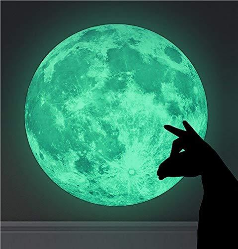WandSticker4U®- Wandtattoo Leuchtmond 30x30 cm I selbstklebend fluoreszierend Mond Leuchtend Aufkleber Kinder Glow Sticker Leuchtsticker I Wand Deko für Kinderzimmer Schlafzimmer