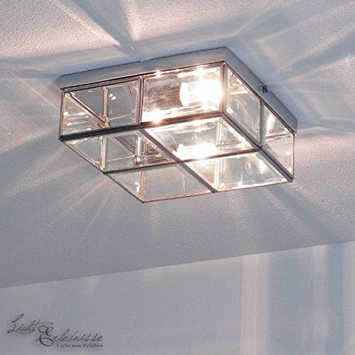 Deckenleuchte in Chrom Bauhaus Design 2xE14 bis zu 40 Watt 230V aus Metall & Glas Schlafzimmer Küche Esszimmer Lampe Leuchten Beleuchtung