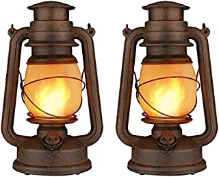 Dancing Flame Led Vintage Lantern, Outdoor Hanging Plastic Lantern Battery Operated with Remote Control Two Modes Led Nigh...
