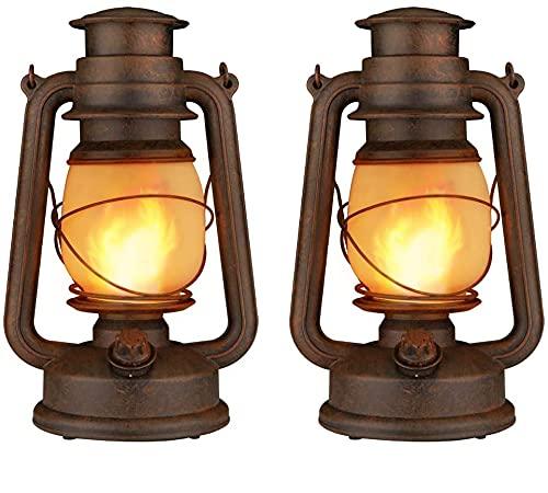 Dancing Flame Led Vintage Lantern, Outdoor Hanging Plastic Lantern Battery Operated with Remote Control Two Modes Led Night Lights for Garden Patio Deck Yard Path 2 Pack, Copper