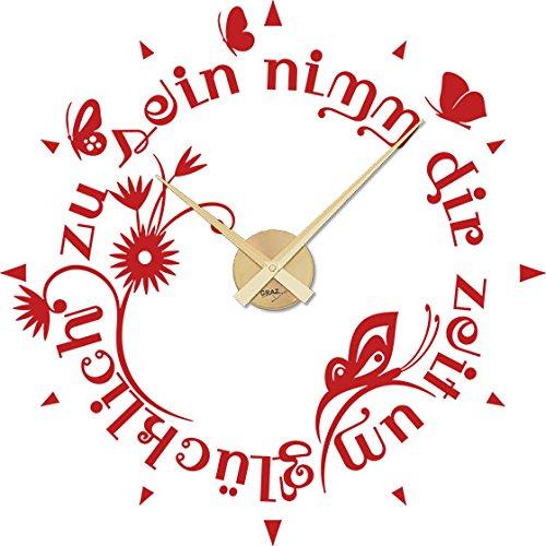 GRAZDesign 800021 muurtattoo klok wandklok met uurwerk voor woonkamer vlinders bloemen woorden Uhrwerk gold 031 rood