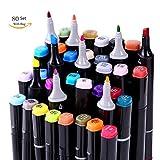 80 Farbige Graffiti Stift Twin Marker Set Sketch Stifte, für Studenten Kunstler Design Drawing Art Supplies (Schwarz)