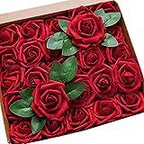 HB life 50pcs Roses artificielles pour Bouquets de Mariage Rose Artificielle Blanche Roses en Mousse polyéthylène pour Bouquets de Mariage centres de Table décoration de fête de Mariage (Vin Rouge)