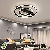 LED Lámpara de techo 54W Moderna Plafón LED luz de techo Redondo delgada Plafon Techo Led Cocina Luz con Control Remoto para Dormitorio Sala Estar Comedor (Negro)
