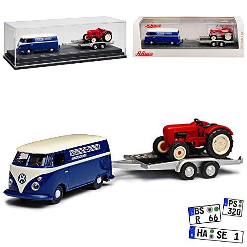 Schuco Volkwagen T1 Kasten Blau Transporter Samba Bully Bus 1950-1967 mit Anhänger Porsche Diesel Junior Traktor H0 1/87 Modell Auto Modell Auto