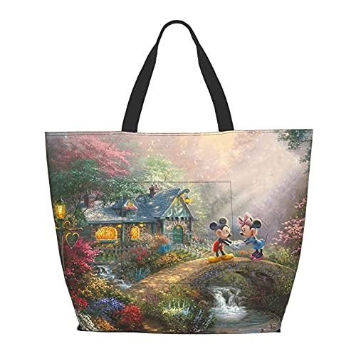 Bolsa de hombro de Mickey Mouse Minnie Beauty and the Beast multifuncional de gran capacidad para tableta de fin de semana, bolsa de viaje, un color, Medium