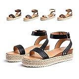 Sandalias Mujer Verano Espadrilles Playa Zapatillas Cómodos Plataforma 5,5cm Casuales Peep Toe Zapatos Cuero Imitación Loafers Caminar Negro Blanco Marrón Gris 35-43 E-Negro 38