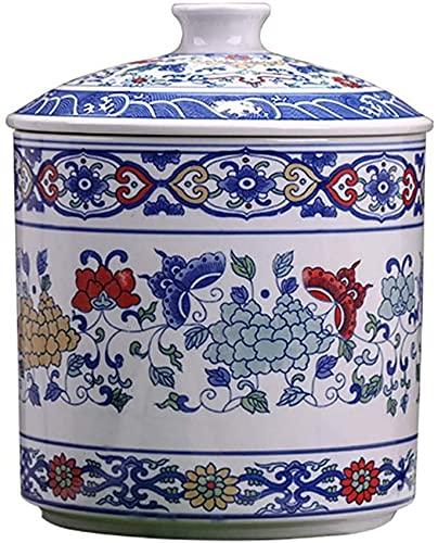 YUBIN Jarrón chino azul y blanco de porcelana de cerámica azul y blanco, juego de 2 floreros clásicos de porcelana azul y blanco, 35.4 pulgadas, jarrón de piso, jarrón Chinoiserie